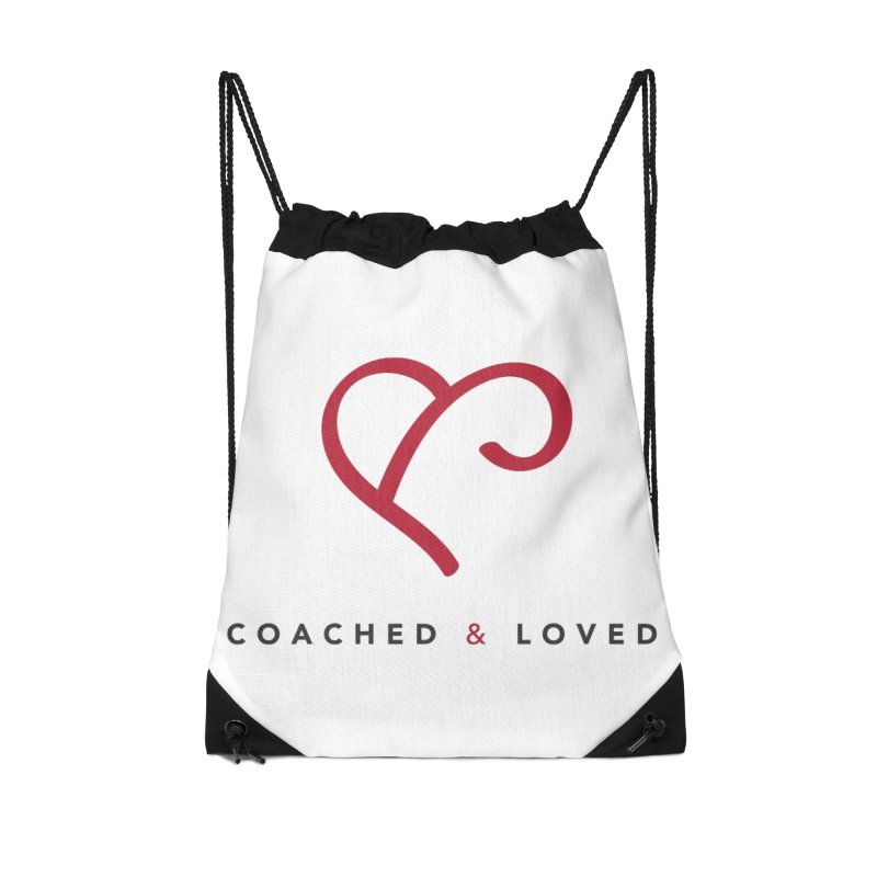 Red Logo Words Accessories Drawstring Bag Bag by Official Merch of the Fitness Protection Program