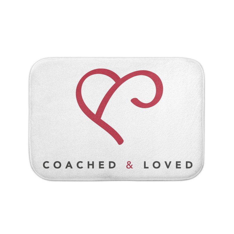 Red Logo Words Home Bath Mat by Official Merch of the Fitness Protection Program