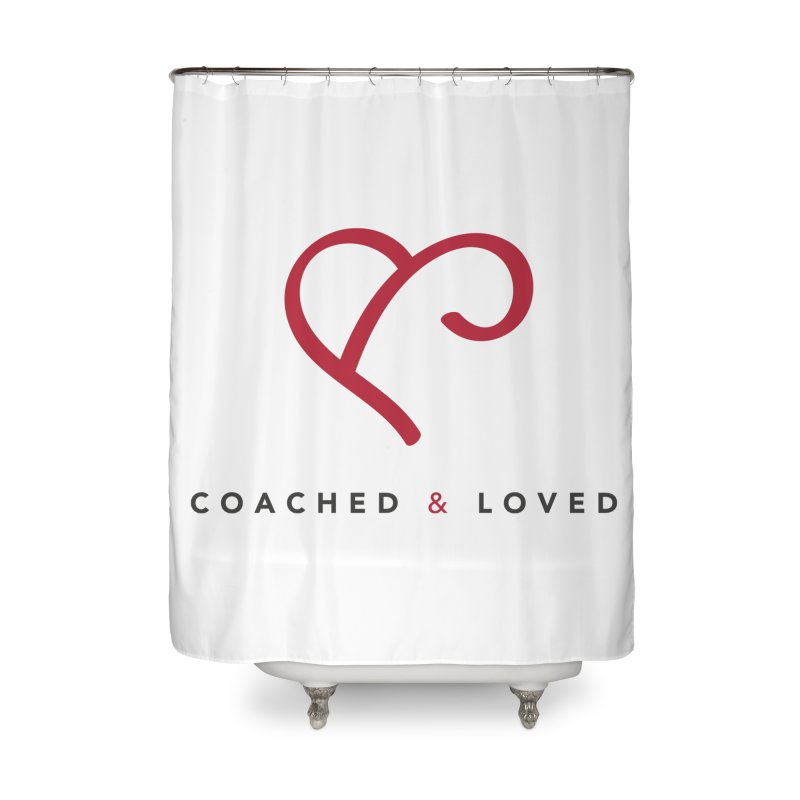 Red Logo Words Home Shower Curtain by Official Merch of the Fitness Protection Program