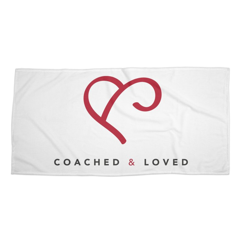 Red Logo Words Accessories Beach Towel by Official Merch of the Fitness Protection Program