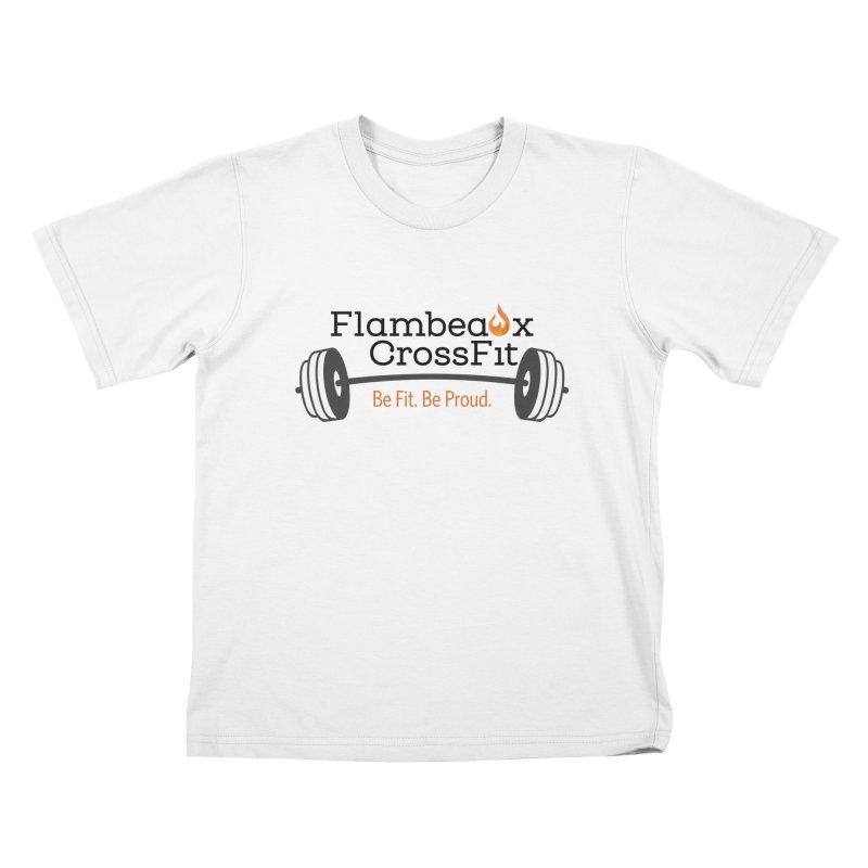 Flambeaux barbell Kids T-Shirt by FlambeauxFit's Artist Shop
