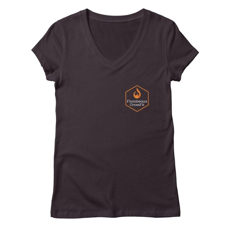 Orange Badge Women's Regular V-Neck by FlambeauxFit's Artist Shop