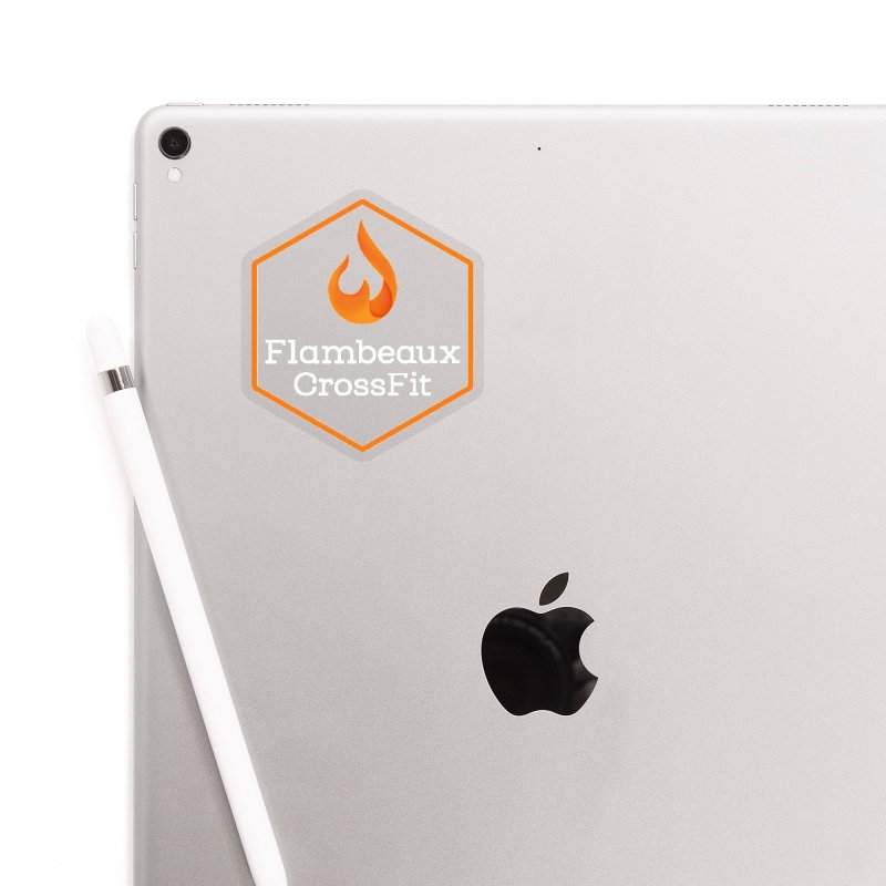 Orange Badge Accessories Sticker by FlambeauxFit's Artist Shop