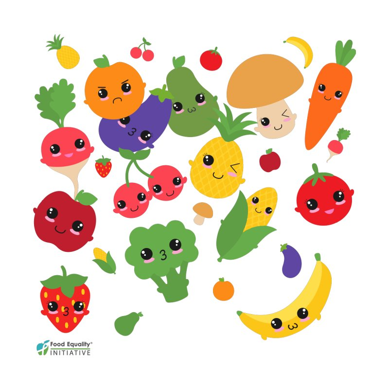 "Happy Fruits and Veggies by FoodEqualityShop""s Artist Shop"