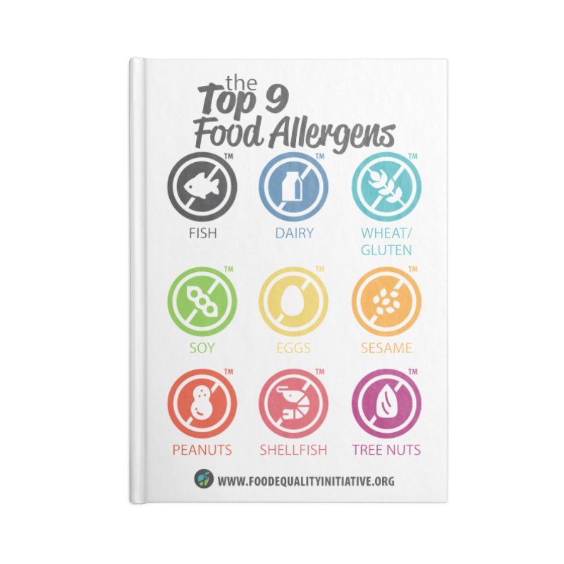 """The Top 9 Food Allergens Accessories Notebook by FoodEqualityShop""""s Artist Shop"""