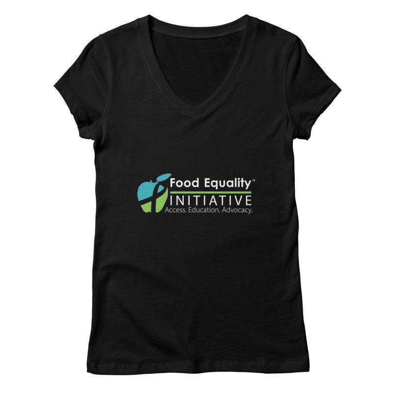 "FEI Logo in White Women's V-Neck by FoodEqualityShop""s Artist Shop"