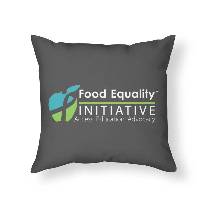 """FEI Logo in White Home Throw Pillow by FoodEqualityShop""""s Artist Shop"""