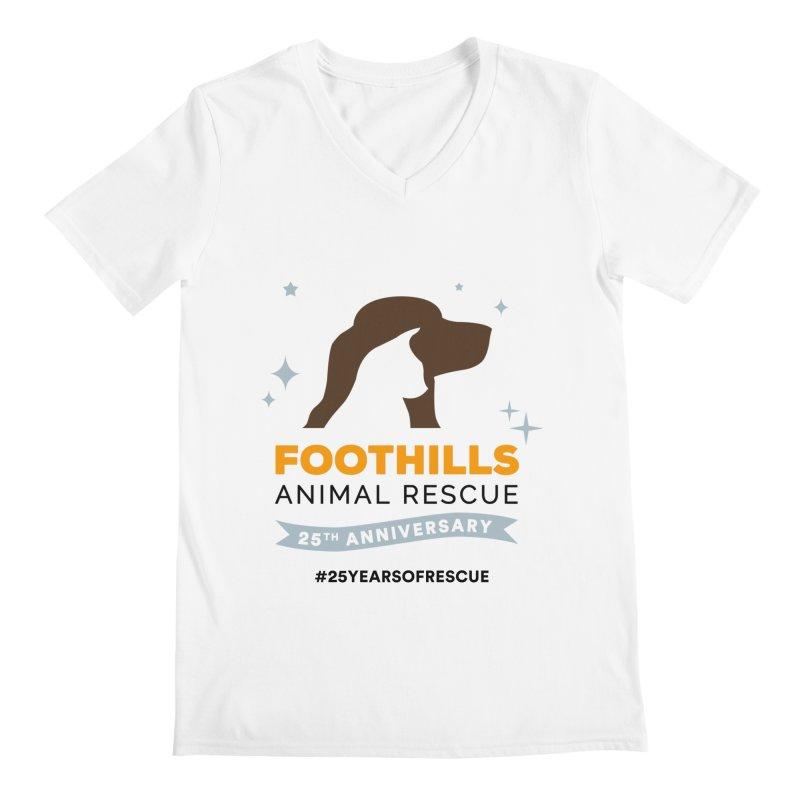 25th Anniversary Ribbon Men's Regular V-Neck by Foothills Animal Rescue Swag