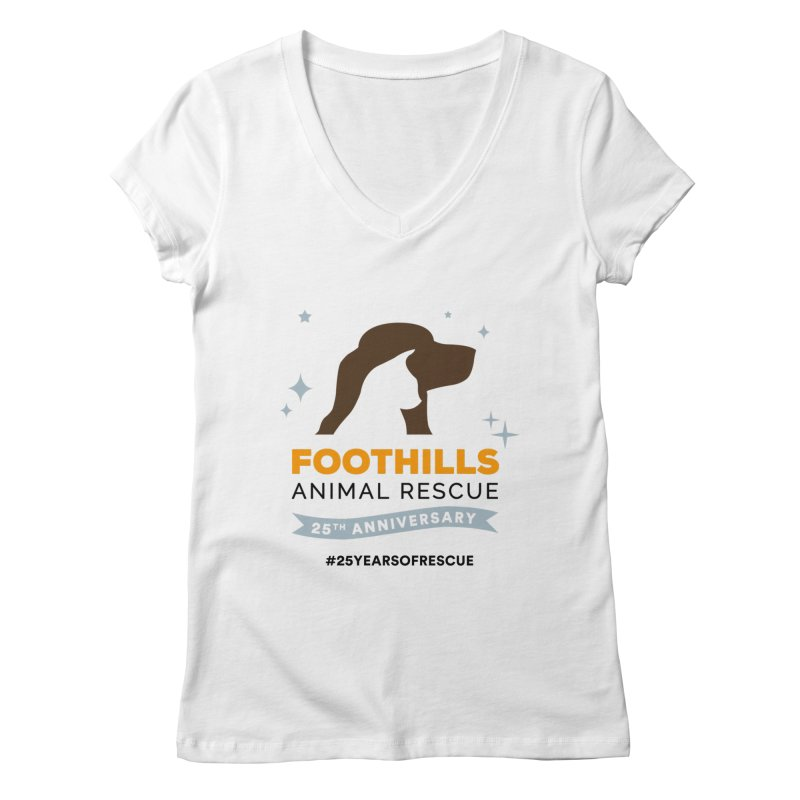 25th Anniversary Ribbon Women's Regular V-Neck by Foothills Animal Rescue Swag