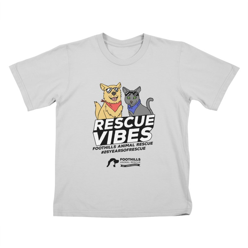 Rescue Vibes (Dark Text) Kids T-Shirt by Foothills Animal Rescue Swag