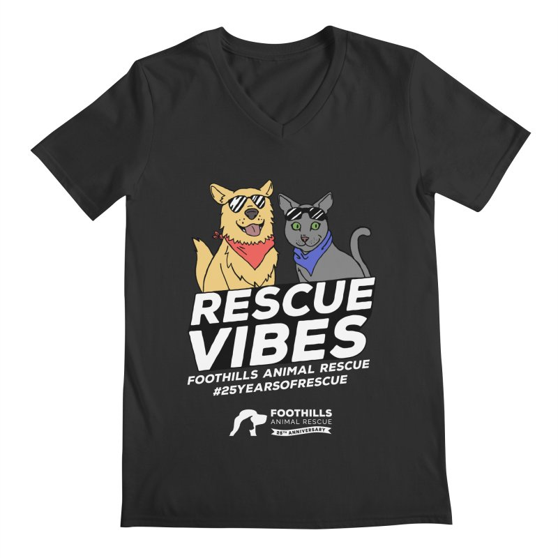 Rescue Vibes (Light Text) Men's Regular V-Neck by Foothills Animal Rescue Swag