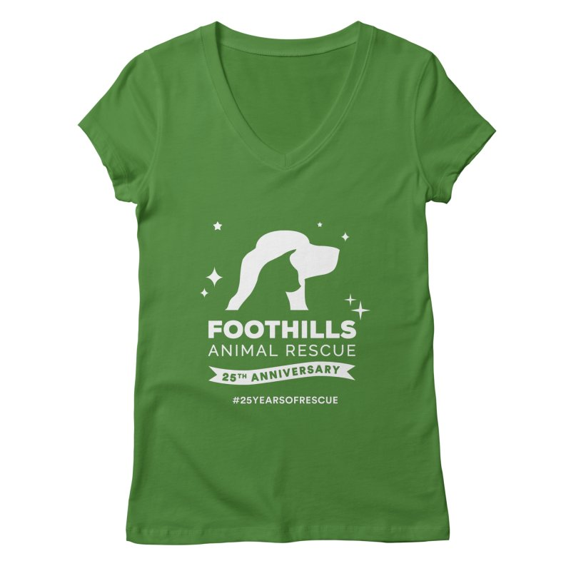25th Anniversary Ribbon (Light Version) Women's Regular V-Neck by Foothills Animal Rescue Swag
