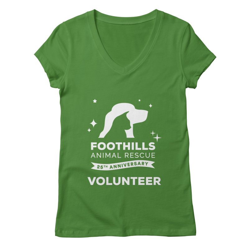 25th Anniversary Volunteer (Light Version) Women's Regular V-Neck by Foothills Animal Rescue Swag