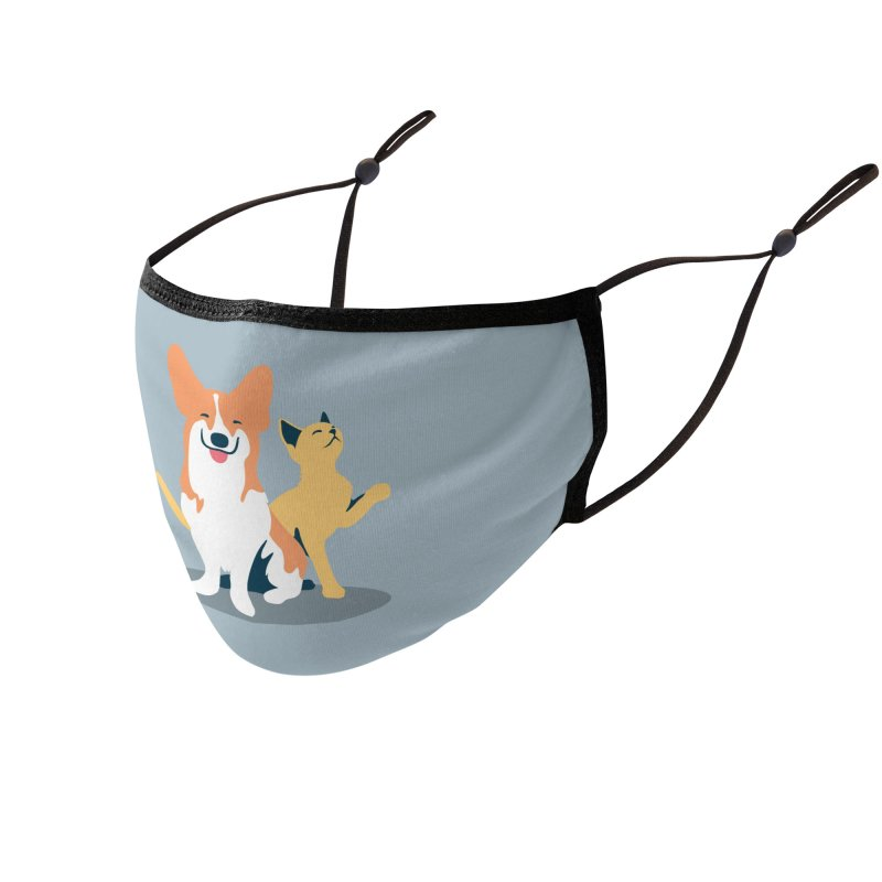 SMILE Face Mask (Corgi & Cat) Accessories Face Mask by Foothills Animal Rescue Swag