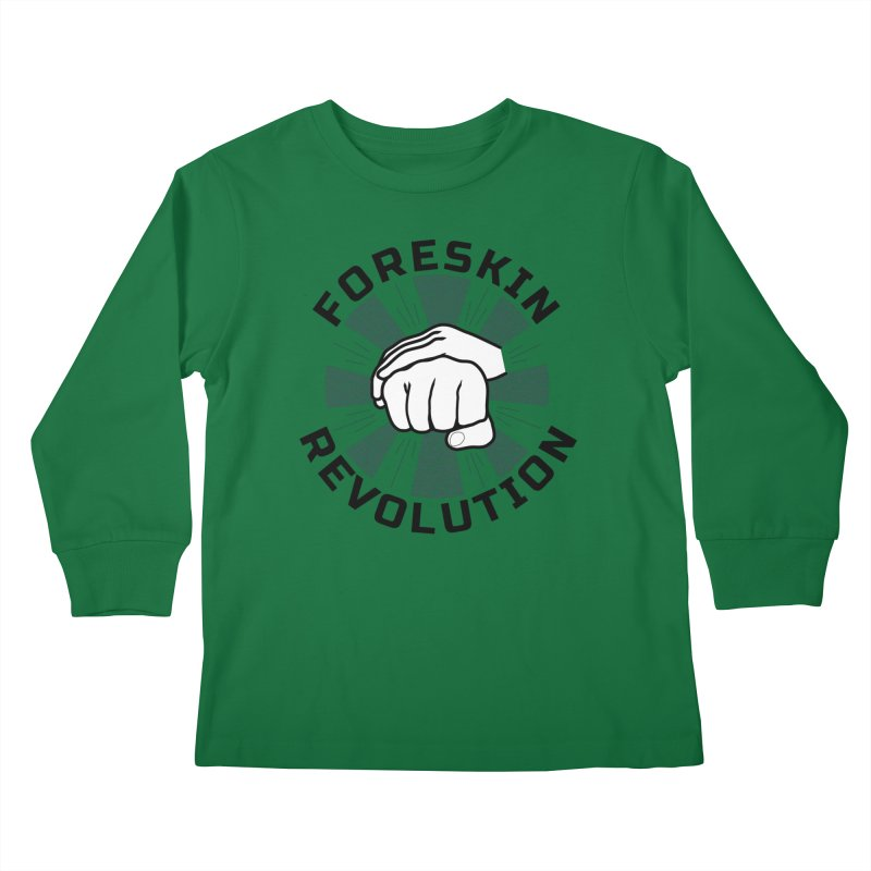 'Purple Rays' foreskin fist bump logo Kids Longsleeve T-Shirt by Foreskin Revolution's Artist Shop