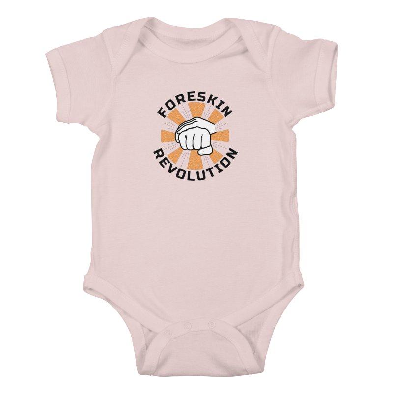 White hands foreskin fist bump logo Kids Baby Bodysuit by Foreskin Revolution's Artist Shop