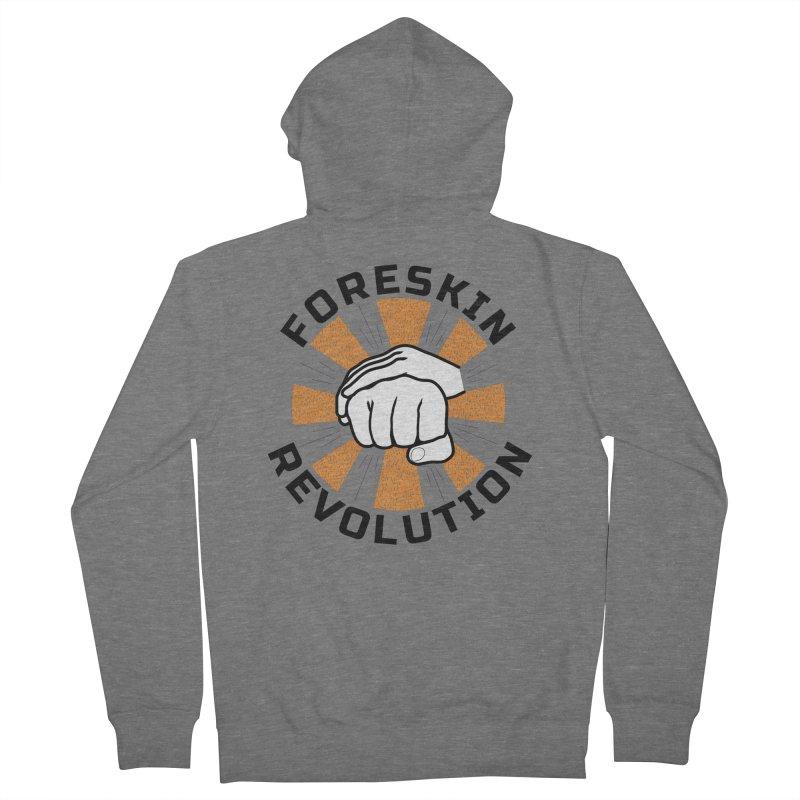 White hands foreskin fist bump logo Men's Zip-Up Hoody by Foreskin Revolution's Artist Shop