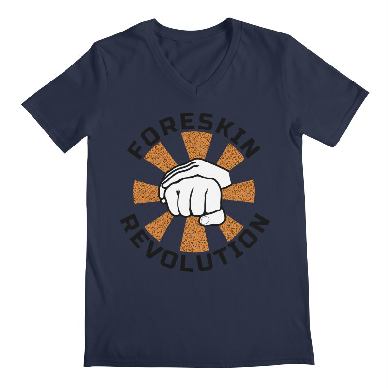 White hands foreskin fist bump logo Men's V-Neck by Foreskin Revolution's Artist Shop