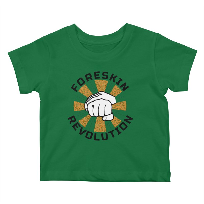 White hands foreskin fist bump logo Kids Baby T-Shirt by Foreskin Revolution's Artist Shop
