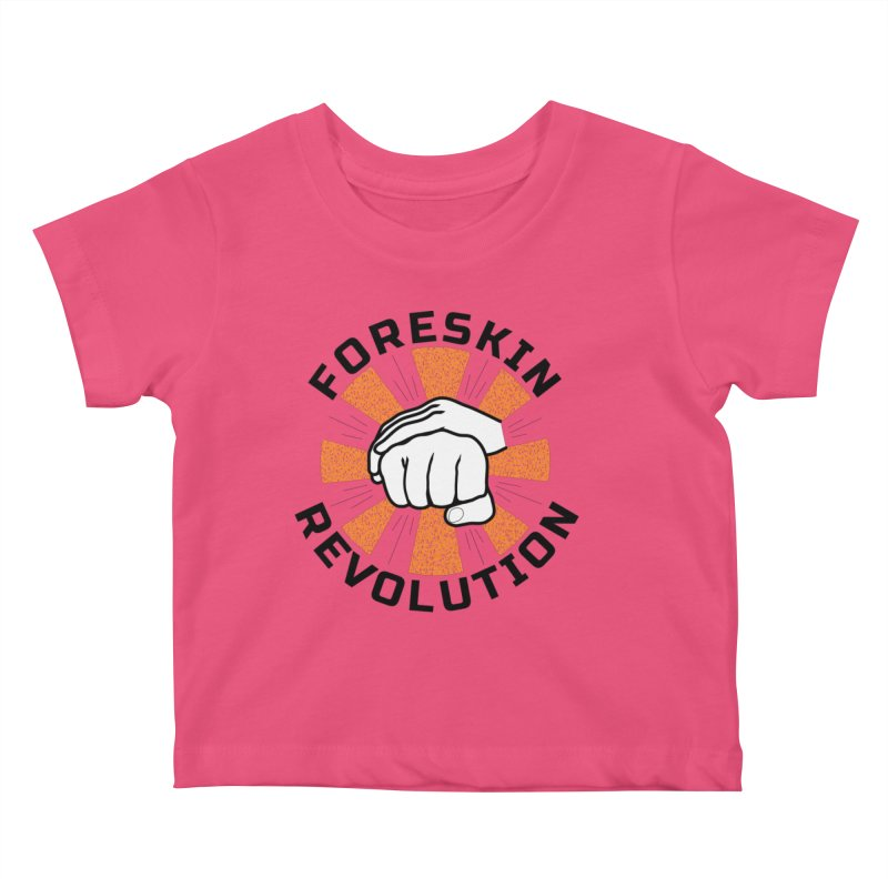 White hands foreskin fist bump logo Kids Baby T-Shirt by Foreskin Revolution's Artist Shop