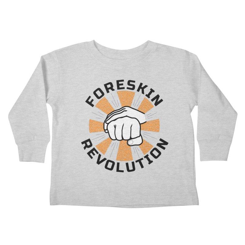 White hands foreskin fist bump logo Kids Toddler Longsleeve T-Shirt by Foreskin Revolution's Artist Shop