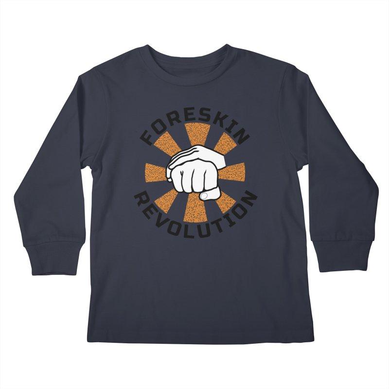 White hands foreskin fist bump logo Kids Longsleeve T-Shirt by Foreskin Revolution's Artist Shop