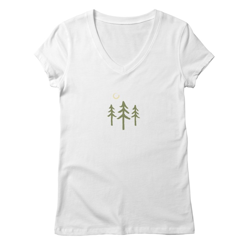 Forest Moon Women's V-Neck by Forest City Designs Artist Shop