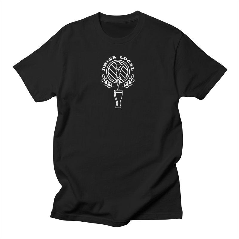 Drink local (white) in Women's Regular Unisex T-Shirt Black by Forest City Designs Artist Shop