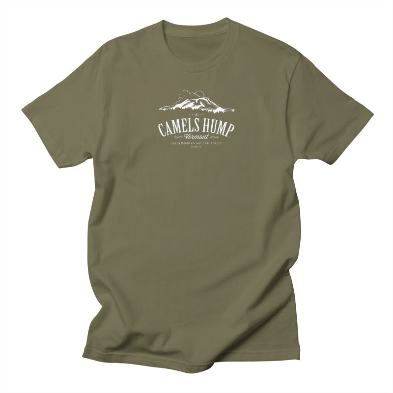 Camels Hump (white) in Men's Regular T-Shirt Olive by Forest City Designs Artist Shop