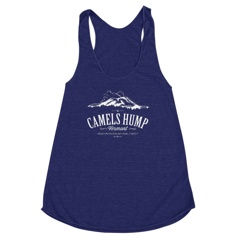 Camels Hump (white) Women's Racerback Triblend Tank by Forest City Designs Artist Shop
