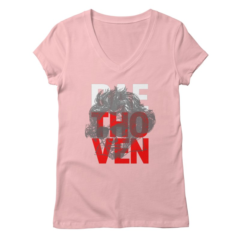 Baethoven in Red White and Gray Women's V-Neck by Fortissimo6's Shop