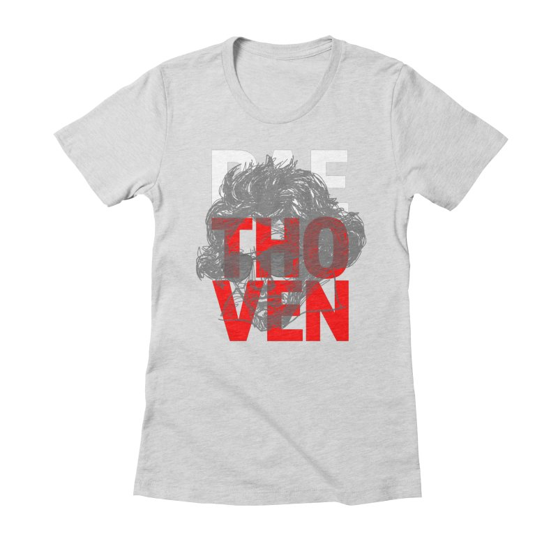 Baethoven in Red White and Gray Women's Fitted T-Shirt by Fortissimo6's Shop