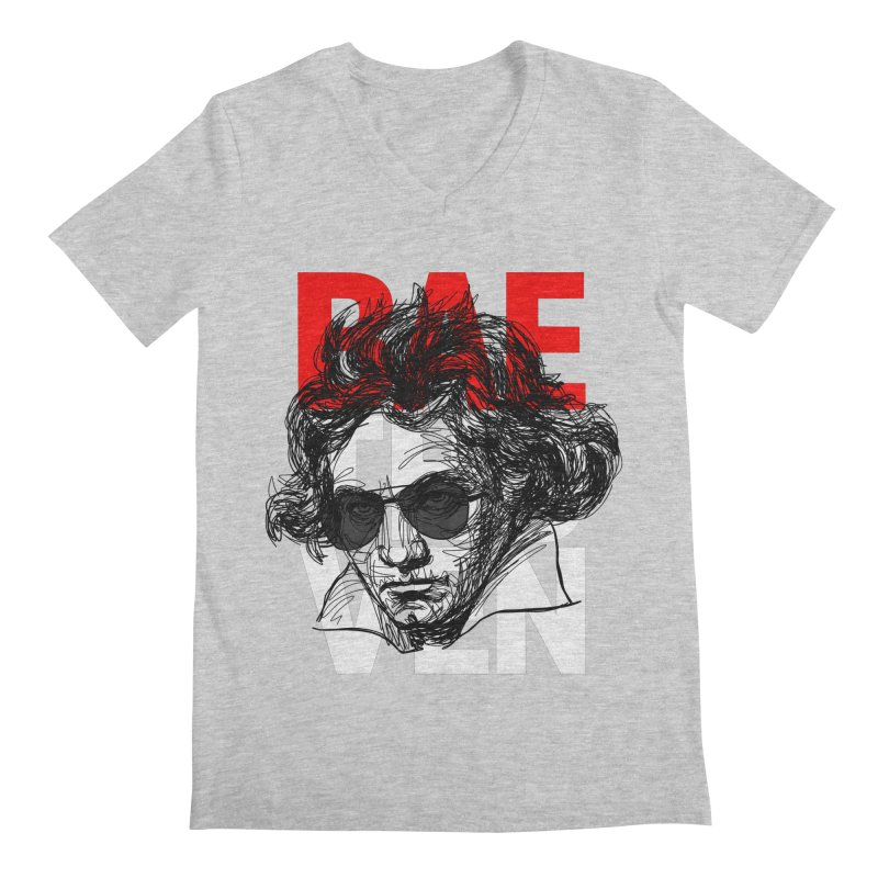 Baethoven in red white and black Men's V-Neck by Fortissimo6's Shop