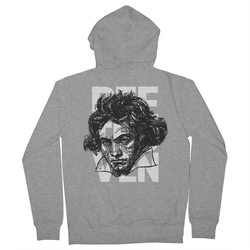 Beethoven in black and white Men's Zip-Up Hoody by Fortissimo6's Shop