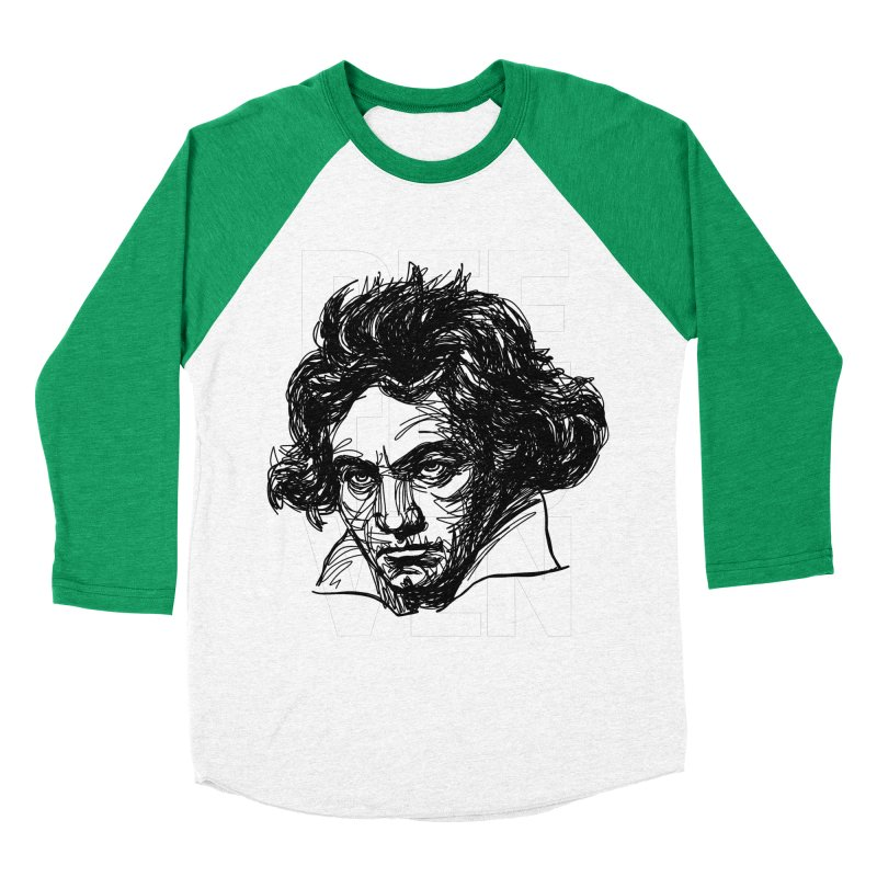 Beethoven in black and white Men's Baseball Triblend T-Shirt by Fortissimo6's Shop