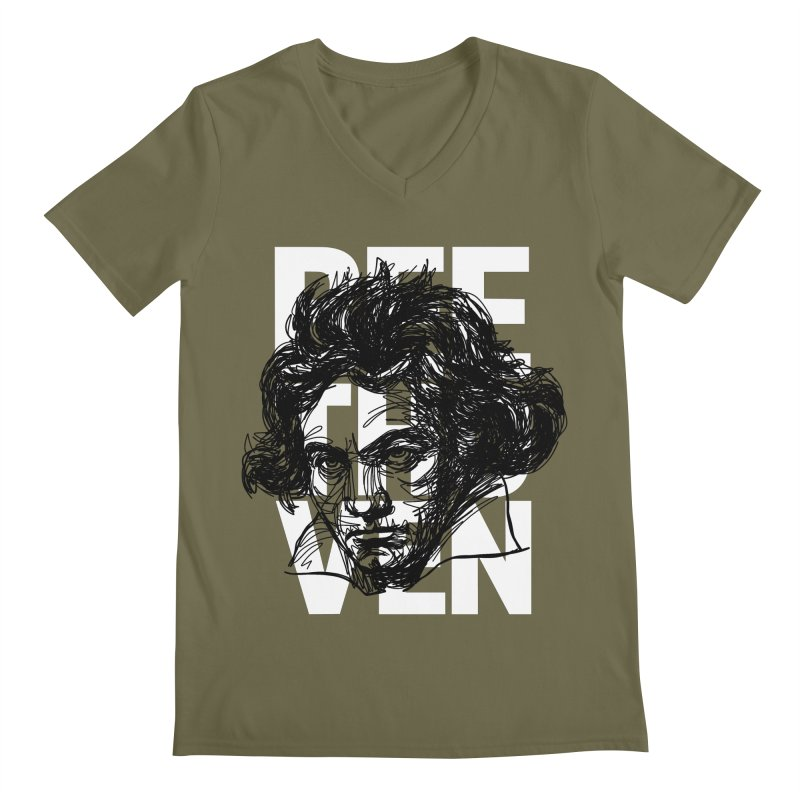 Beethoven in black and white Men's V-Neck by Fortissimo6's Shop
