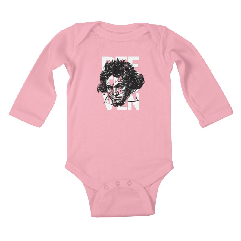 Beethoven in black and white Kids Baby Longsleeve Bodysuit by Fortissimo6's Shop