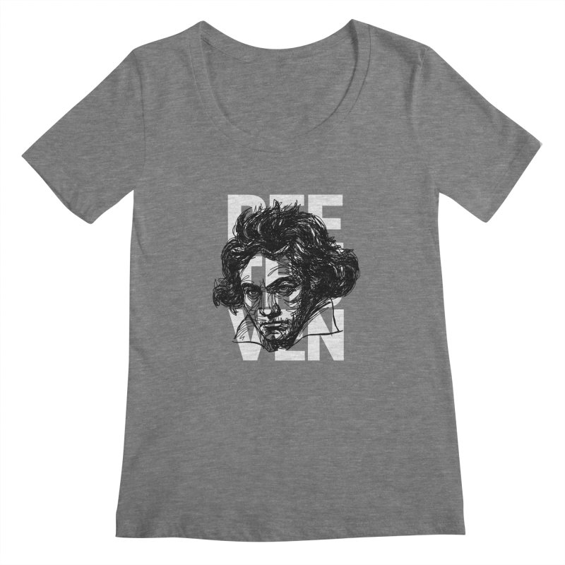Beethoven in black and white Women's Scoopneck by Fortissimo6's Shop