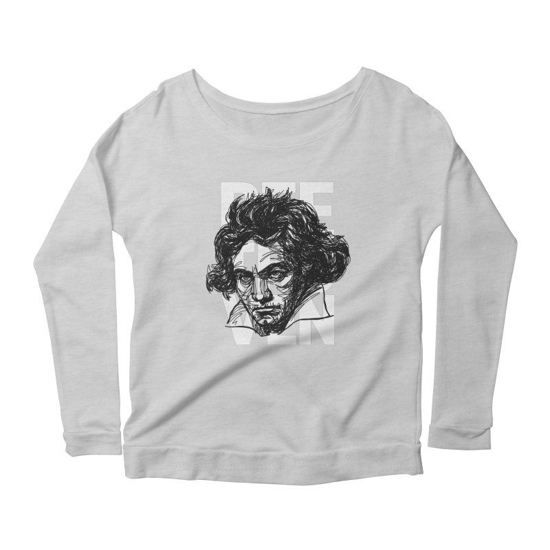 Beethoven in black and white Women's Longsleeve Scoopneck  by Fortissimo6's Shop