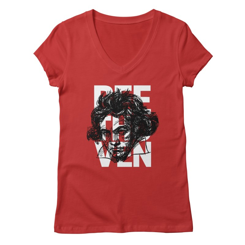Beethoven in black and white Women's V-Neck by Fortissimo6's Shop