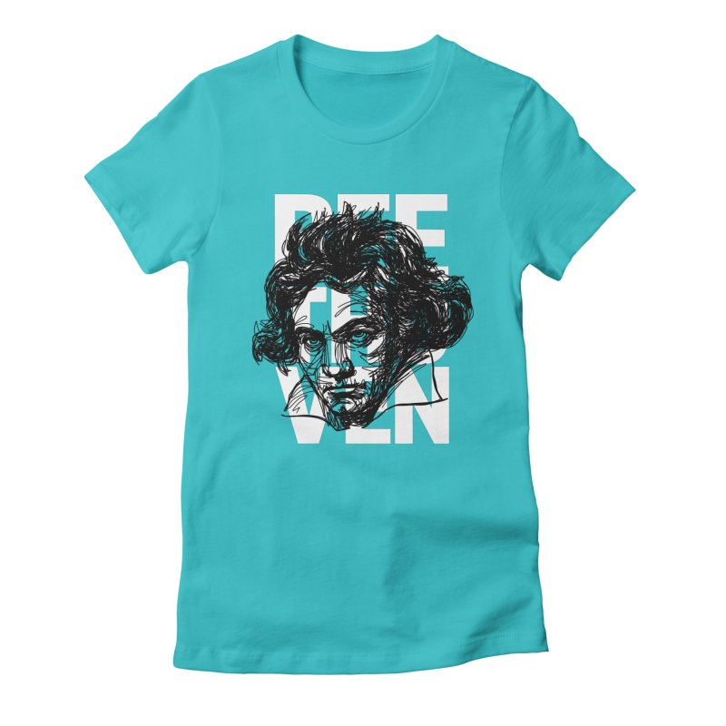 Beethoven in black and white Women's Fitted T-Shirt by Fortissimo6's Shop