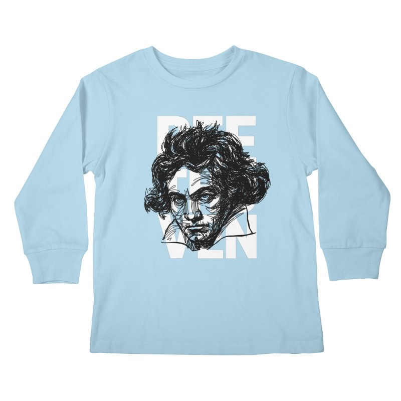 Beethoven in black and white Kids Longsleeve T-Shirt by Fortissimo6's Shop
