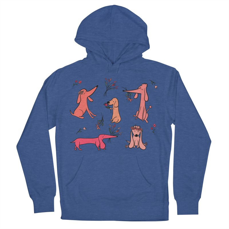 Cute Pink Dogs Women's French Terry Pullover Hoody by FoxandCrow's Artist Shop