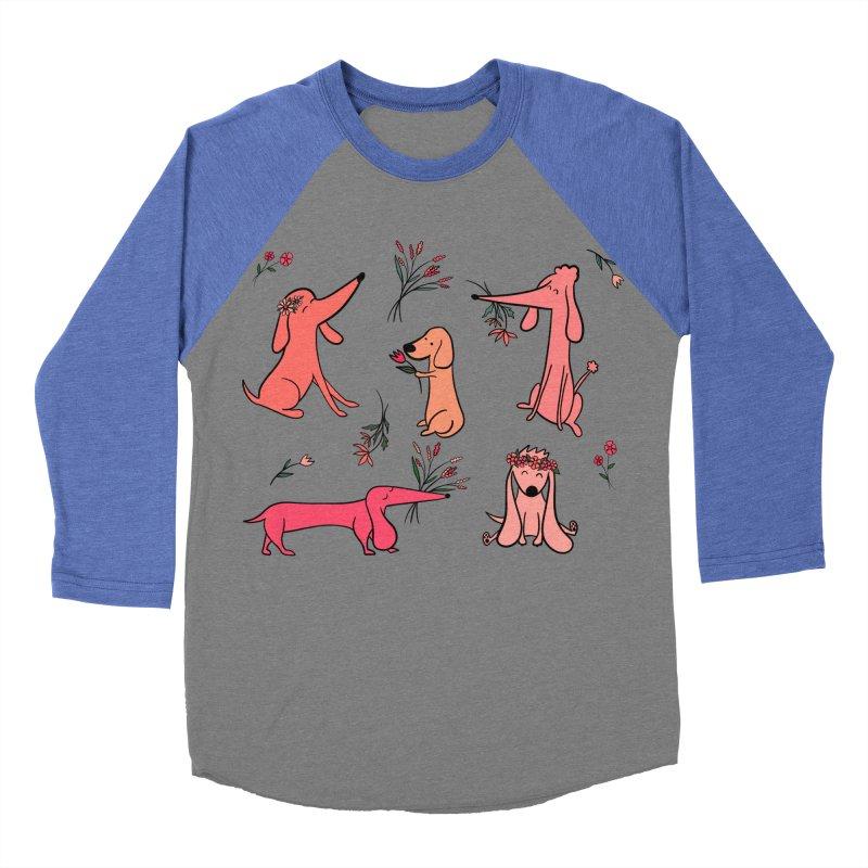Cute Pink Dogs Men's Baseball Triblend Longsleeve T-Shirt by FoxandCrow's Artist Shop