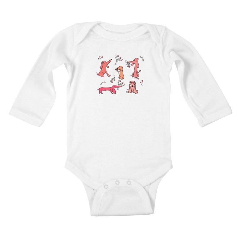 Cute Pink Dogs Kids Baby Longsleeve Bodysuit by FoxandCrow's Artist Shop