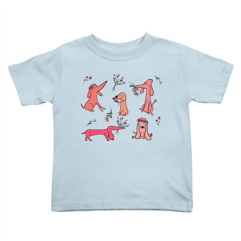 Cute Pink Dogs Kids Toddler T-Shirt by FoxandCrow's Artist Shop