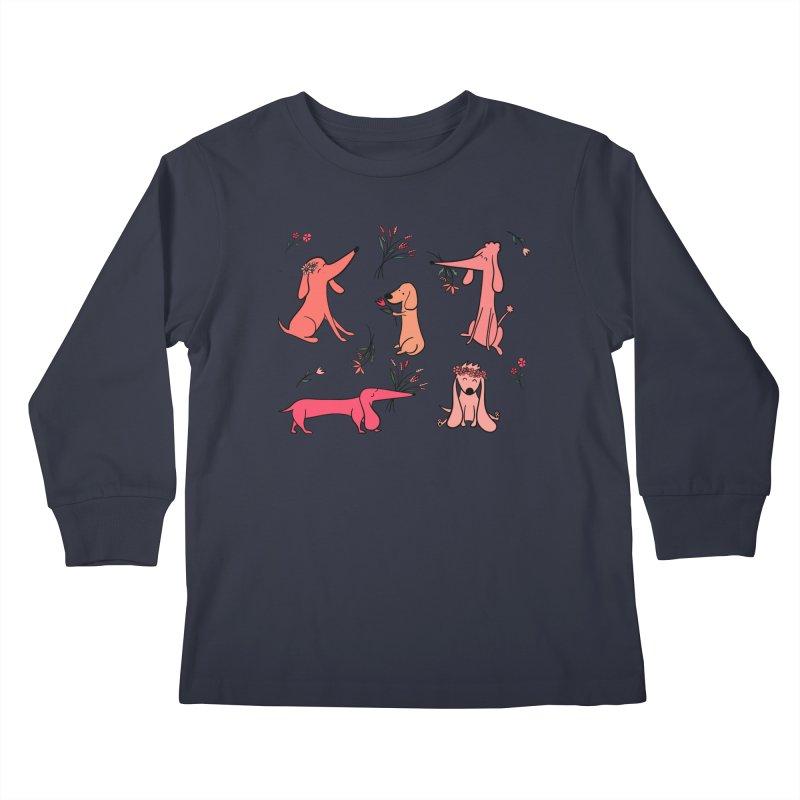 Cute Pink Dogs Kids Longsleeve T-Shirt by FoxandCrow's Artist Shop