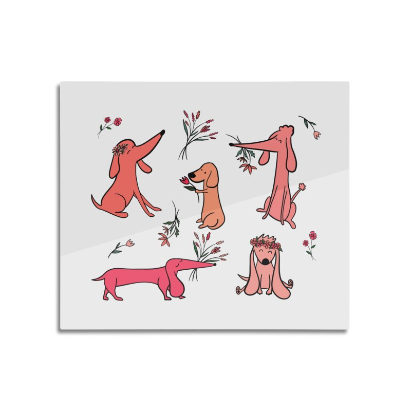 Cute Pink Dogs Home Mounted Acrylic Print by FoxandCrow's Artist Shop