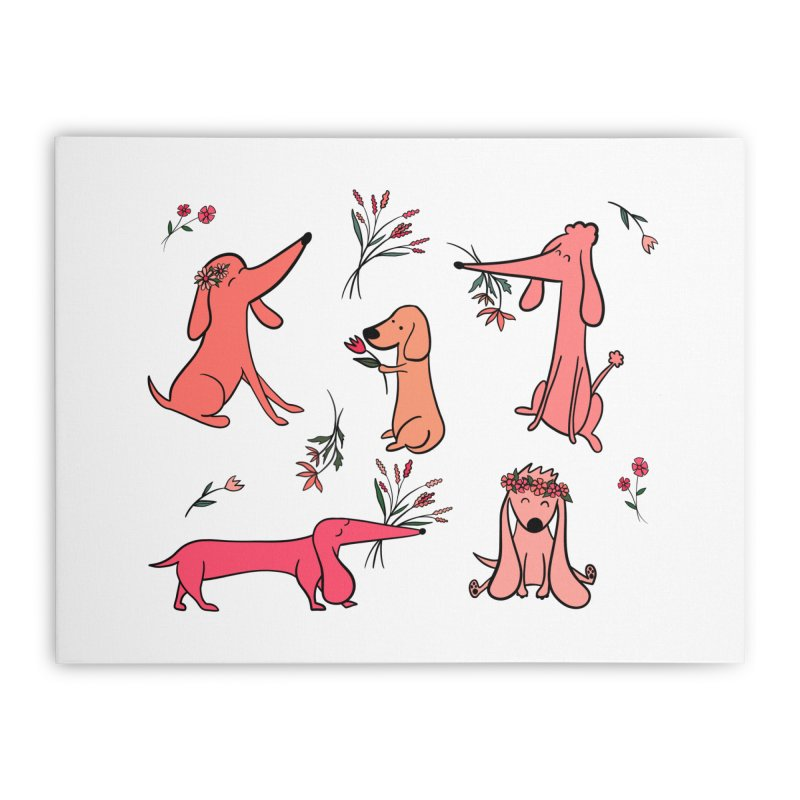 Cute Pink Dogs Home Stretched Canvas by FoxandCrow's Artist Shop