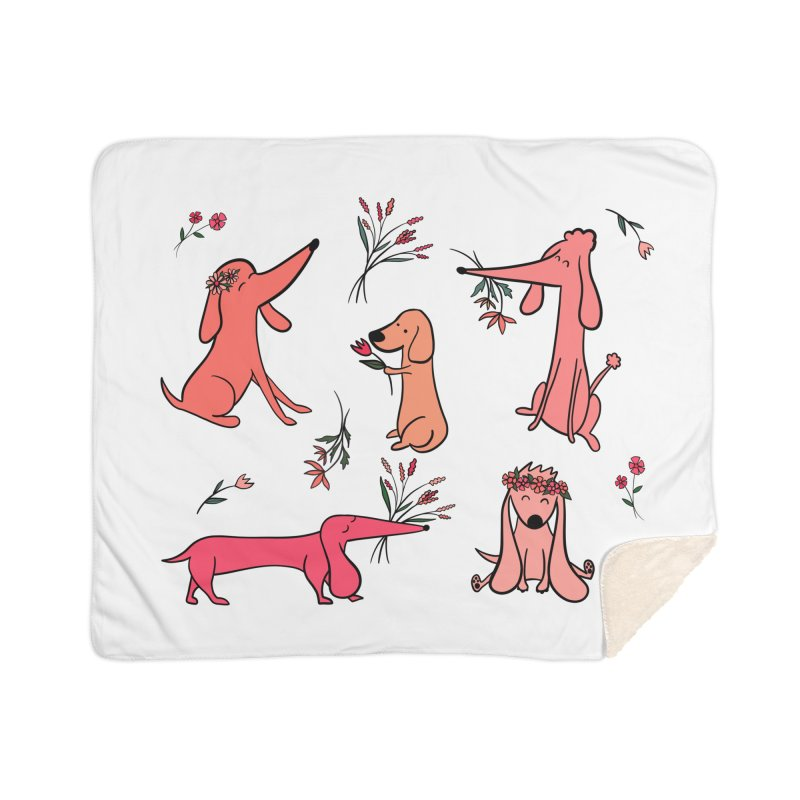 Cute Pink Dogs Home Blanket by FoxandCrow's Artist Shop